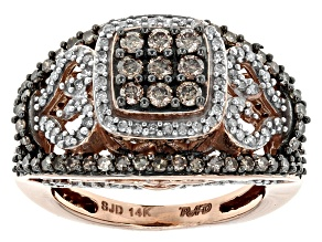 Champagne And White Diamond 14k Rose Gold Ring .95ctw