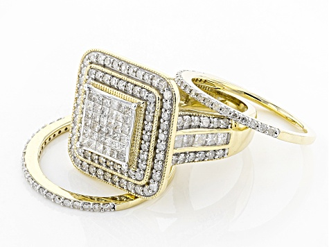 White Diamond 10k Yellow Gold Ring With Matching Bands 2.10ctw