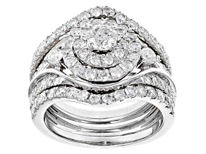White Diamond 10k White Gold Ring With 2 Matching Bands 2.12ctw