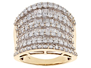 White Diamond Ring 10k Yellow Gold .90ctw