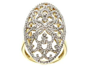 White Diamond 14 Yellow Gold Over Sterling Silver Ring 1.30ctw