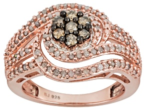 Diamond 14k Rose Gold Over Sterling Silver Ring .95ctw