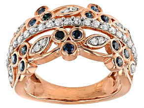 14k Rose Gold Over Silver Blue And White Diamond Ring .74ctw