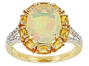 Ethiopian Opal 10k Yellow Gold Ring 3.67ctw