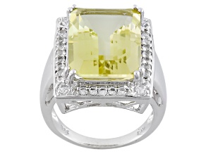 Canary Yellow Quartz Sterling Silver Ring 9.59ctw