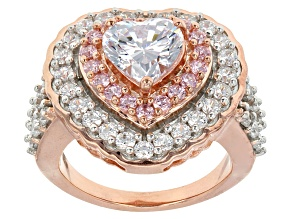 White And Pink Cubic Zirconia 18k Rose Gold Over Silver Heart Ring 6.39ctw (3.24ctw DEW)