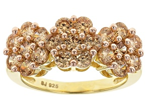 Brown Cubic Zirconia 18k Yellow Gold Over Silver Ring 4.01ctw (1.77ctw DEW)