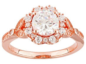 Cubic Zirconia 18k Rose Gold Over Silver Ring 3.09ctw (1.75ctw DEW)
