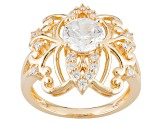 Cubic Zirconia 18k Yellow Gold Over Silver Ring 2.63ctw (1.58ctw DEW)