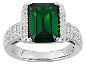 Green And White Cubic Zirconia Rhodium Over Sterling Silver Ring 6.87ctw