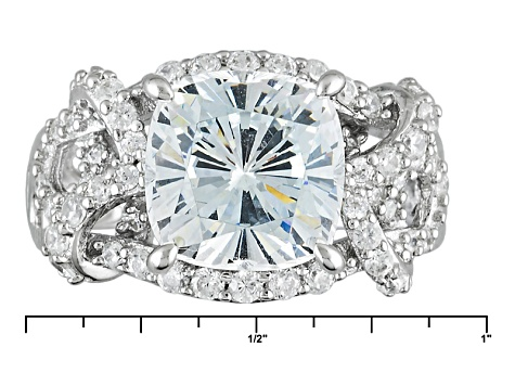 White Cubic Zirconia Rhodium Over Sterling Silver Ring 8.62ctw