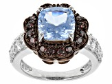 Blue/White/Brown Cubic Zirconia Rhodium Over Sterling Silver Ring 3.80ctw