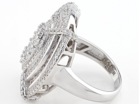 White Cubic Zirconia Rhodium Over Silver Ring 3.19ctw