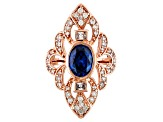 Blue And White Cubic Zirconia 18k Rose Gold Over Silver Ring 4.34ctw