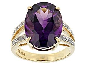 Purple Amethyst 14k Yellow Gold Ring 6.73ctw