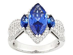 Blue And White Cubic Zirconia Silver Ring 6.60ctw