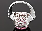 Pink And White Cubic Zirconia Sterling Silver Ring 17.05ctw