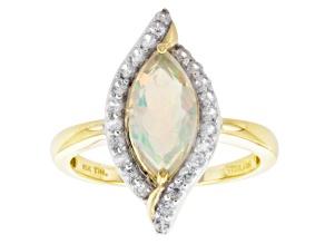 Multi Color Ethiopian Opal 10k Yellow Gold Ring 1.30ctw.