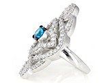 Blue And White Cubic Zirconia Silver Ring 4.21ctw