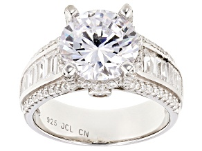 White Cubic Zirconia Rhodium Over Sterling Silver Ring 8.30ctw