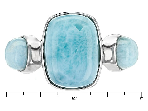 Blue Larimar Sterling Silver 3-Stone Ring