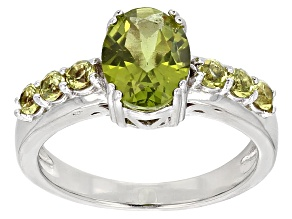 Green Peridot Sterling Silver Ring 1.84ctw