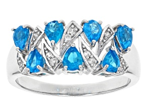 Neon Blue Apatite Sterling Silver Ring 1.24ctw