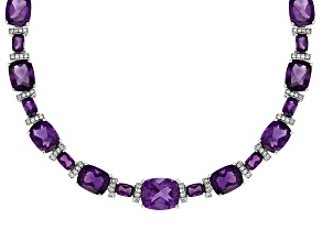 Purple Amethyst Sterling Silver Necklace 65.90ctw