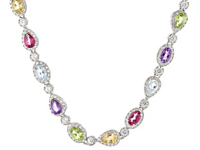 Multi-Gem Sterling Silver Necklace 18.17ctw