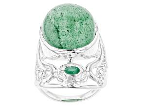 Green Aventurine Quartz Sterling Silver Ring .23ct