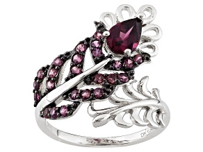 Purple Rhodolite Sterling Silver Bypass Feather Ring 1.32ctw