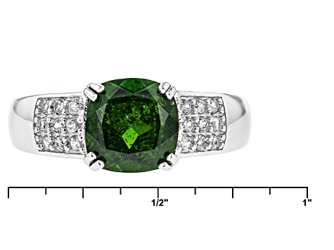 Green Chrome Diopside Sterling Silver Ring 2.22ctw