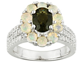 Green Moldavite, Ethiopian Opal And White Zircon Sterling Silver Ring 2.42ctw