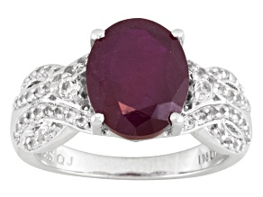 Mahaleo Ruby And White Topaz Sterling Silver Ring 4.13ctw