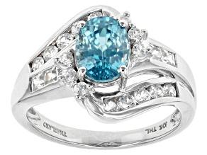 Blue Zircon 10k White Gold Ring 3.02ctw