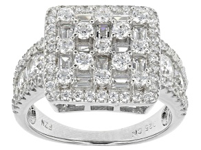 White Cubic Zirconia Rhodium Over Silver Ring 3.56ctw