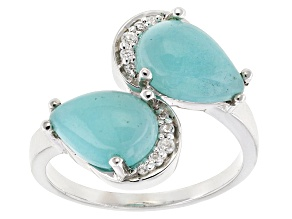 Blue Amazonite Sterling Silver Ring .12ctw
