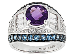 Amethyst With Blue And White Topaz Sterling Silver Ring 3.53ctw