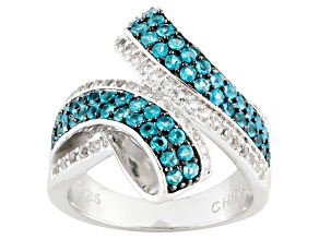 Blue Apatite And White Topaz Sterling Silver Ring 1.03ctw
