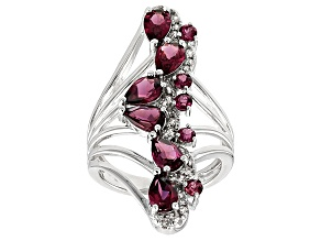 Purple Rhodolite Sterling Silver Ring 3.20ctw