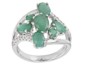 Green Emerald Sterling Silver Ring 2.69ctw