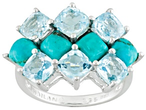 Blue Turquoise Sterling Silver Ring 3.74ctw