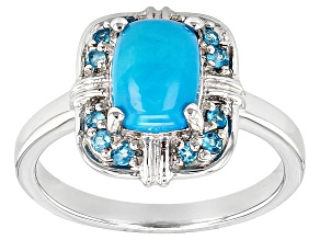 Blue Ethiopian Opal Sterling Silver Ring. .64ctw