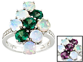 Lab Created Color Change Alexandrite Sterling Silver Ring 2.81ctw