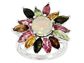 Ethiopian Opal Sterling Silver Ring 3.35ctw