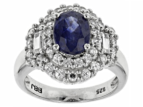 Mahaleo Sapphire And White Zircon Sterling Silver Ring 2.45ctw