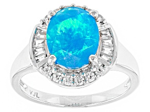 Blue Ethiopian Opal Sterling Silver Ring 1.72ctw