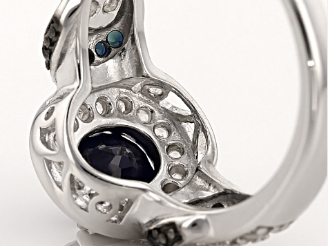 Blue Sapphire Sterling Silver Ring 2.20ctw