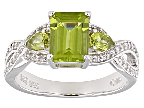 Green Peridot Sterling Silver Ring 1.96ctw