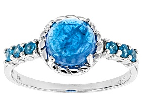 Blue Neon Apatite Sterling Silver Ring 2.66ctw